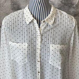 Reitmans XXL sheer white polka dot shirt